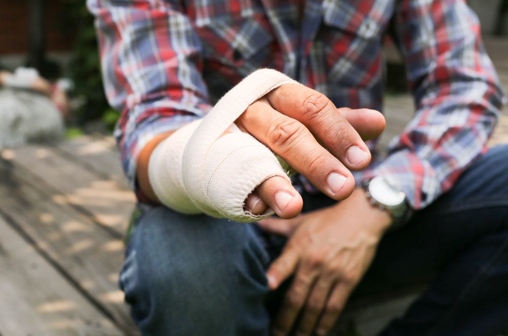 Splint broken bone  hand Injured in blur background